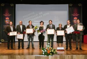 O alcalde cos premiados Premios Concello de Ponteareas 2014
