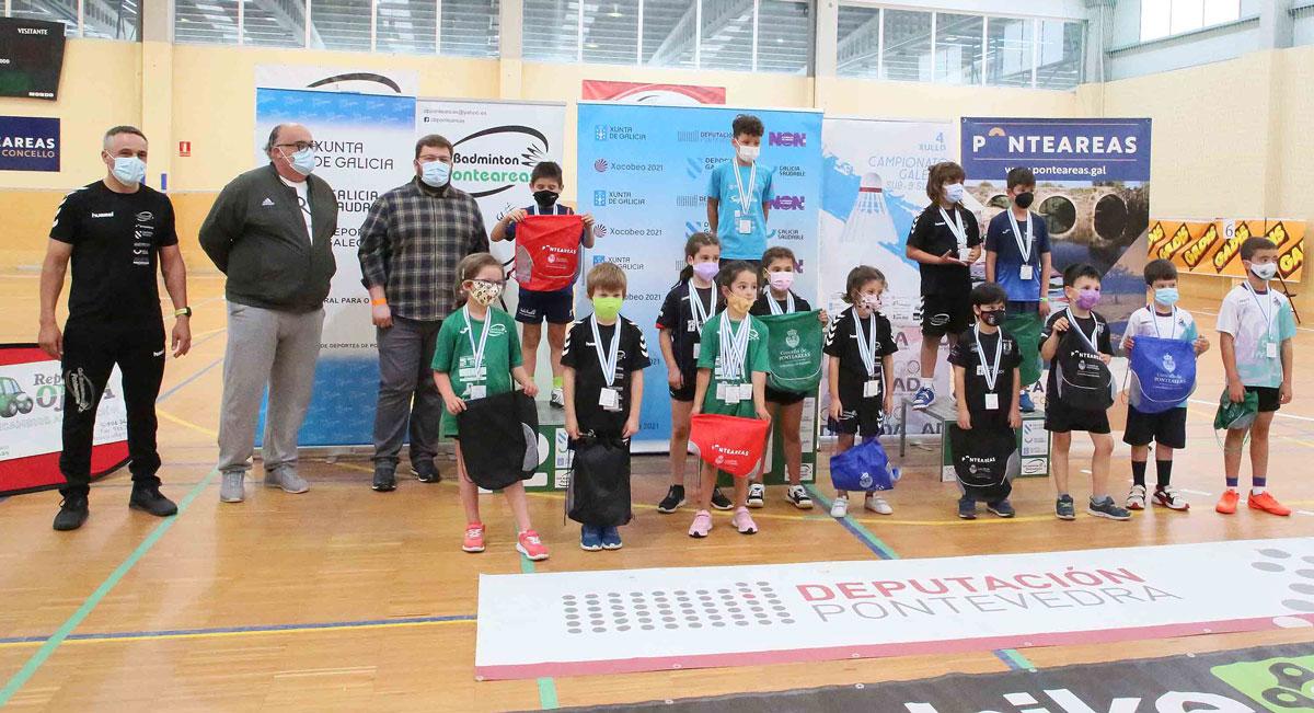 O Club Bádminton Ponteareas, presente en todos os podios do Campionato galego sub 9 celebrado na vila