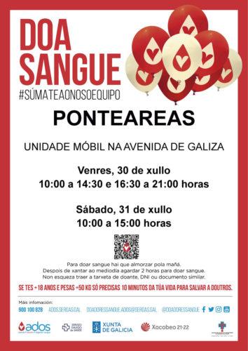 A unidade móbil de doazón de sangue visitará o 30 e 31 de xullo en Ponteareas