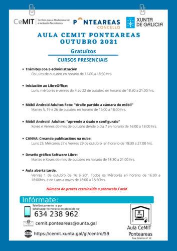 A aula CeMIT de Ponteareas ofrece seis novos cursos de balde para este mes de outubro