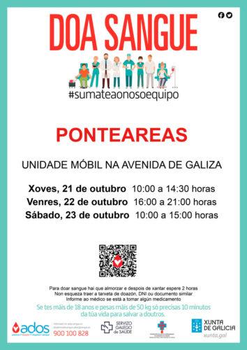 A unidade móbil de doazón de sangue visitará Ponteareas os días 21, 22 e 23 de outubro